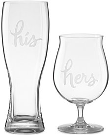 kate spade new york Two of a Kind His & Hers Beer Glasses, Set of 2