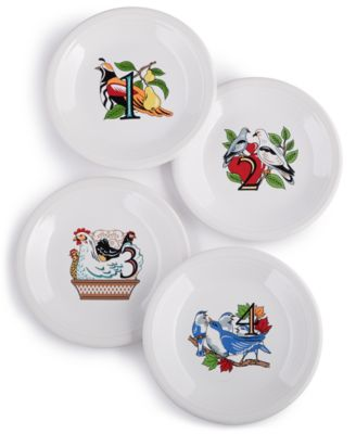 Twelve Days of Christmas Set of 4 Salad/Dessert Plates, First Series in a Series of Three
