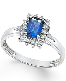 Sapphire (5/8 ct. t.w.) and Diamond (1/5 ct. t.w.) Ring in 14k White Gold