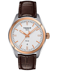 Tissot Women's Swiss PR100 Diamond Accent Brown Leather Strap Watch 33mm T1012102603600