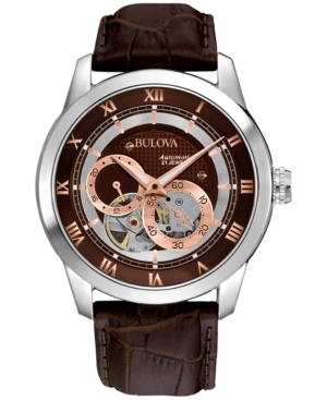 Bulova Men's Automatic Brown Croc Embossed Leather Strap Watch 96A120