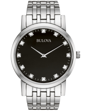 Bulova Men's Diamond Accent Stainless Steel Bracelet Watch 38mm 96D106