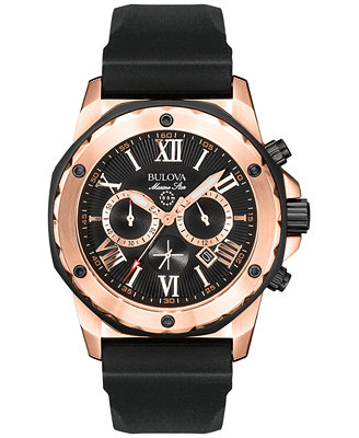 Men's Chronograph Black Rubber Strap Watch 44mm 98 B104 by Bulova
