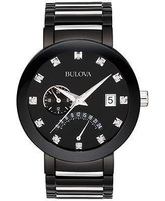 Bulova Men's Diamond Accent Black Tone Stainless Steel Bracelet Watch 40mm 98D109