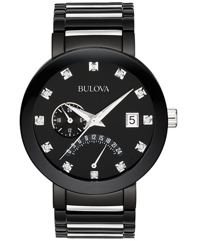 bulova men s diamond accent black tone stainless steel bracelet bulova men s diamond accent black tone stainless steel bracelet watch 40mm 98d109