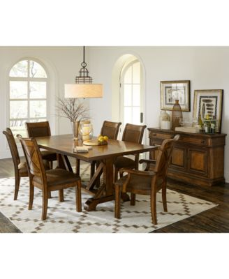 4 Chair Dining Sets mandara 7-pc. dining set (dining trestle table, 4 side chairs & 2