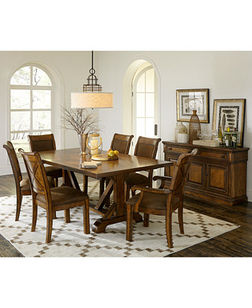Image 2 Of Mandara 7 Pc Dining Room Set Trestle Table