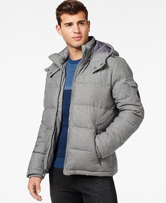 GUESS Quilted Down-Filled Jacket with Removable Hood - Coats ...