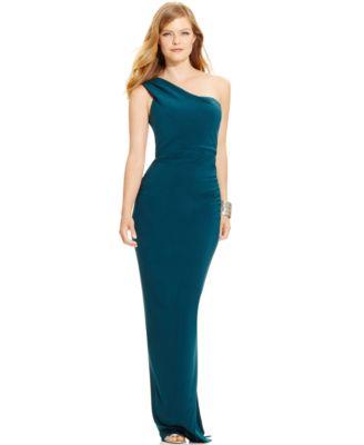 Xscape Beaded One Shoulder Dress