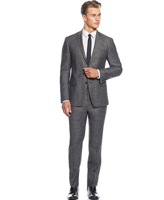 DKNY Black and White Herringbone Slim-Fit Suit - Suits & Suit ...