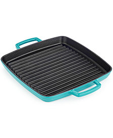 "CLOSEOUT! Martha Stewart Collection 11"" Enameled Cast Iron Grill Pan, Created for Macy's"