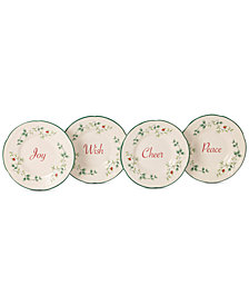 Pfaltzgraff Winterberry Collection Stoneware Appetizer Plates, Set of 4, Created for Macy's