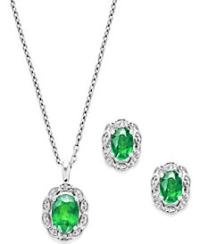 Emerald (2 ct. t.w.) and Diamond Accent Jewelry Set in Sterling Silver