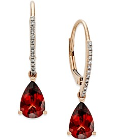 Garnet (2-1/2 ct. t.w.) and Diamond Accent Drop Earrings in 14k Rose Gold