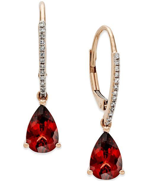Macy's Garnet (2-1/2 ct. t.w.) and Diamond Accent Drop Earrings in 14k Rose Gold