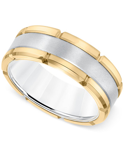 Comfort-Fit Band (8mm) in Yellow and White Tungsten Carbide