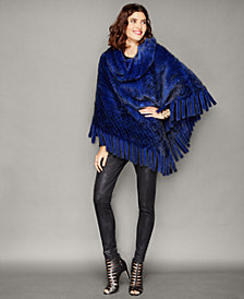 The Fur Vault Knitted Mink Fur Fringe Poncho