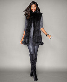 The Fur Vault Fox-Trim Knitted Mink Fur Vest
