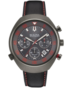 Bulova Accutron Ii Men's Chronograph Uhf Black Leather Strap Watch 45mm 98B252