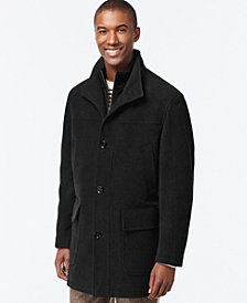 Cole Haan Wool-Blend Knit-Collar Overcoat