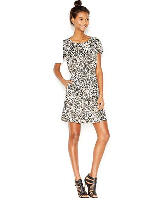 Bar iii printed cinched waist pocket dress only at macy 39 s for Cinched waist wedding dress