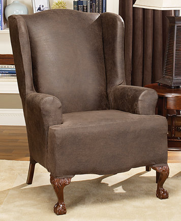 Awesome Sure Fit Stretch Faux Leather Wing Chair Slipcover Machost Co Dining Chair Design Ideas Machostcouk