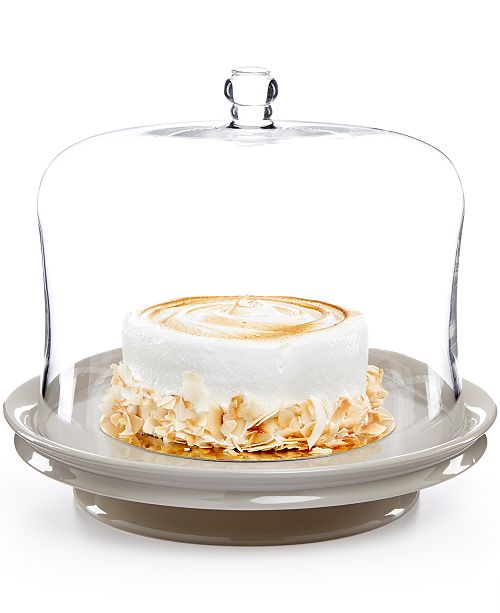Martha Stewart Collection Closeout! Low Footed Cake Plate with Dome, Created for Macy's