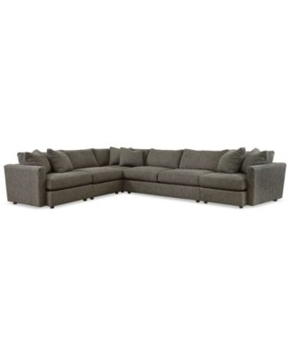 clinton fabric 5piece sectional with apartment sofa created for macyu0027s