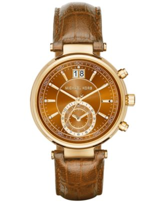 Michael Kors Women's Sawyer Amber Croc-Embossed Leather Strap Watch 39mm MK2424