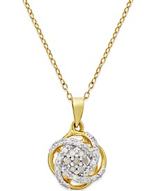 "Diamond Love Knot 18"" Pendant Necklace (1/10 ct. t.w.) in 18k Gold-Plated Sterling Silver or Sterling Silver"