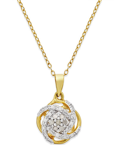 Diamond love knot pendant necklace 110 ct tw in 18k gold diamond love knot pendant necklace 110 ct tw in 18k gold aloadofball Image collections