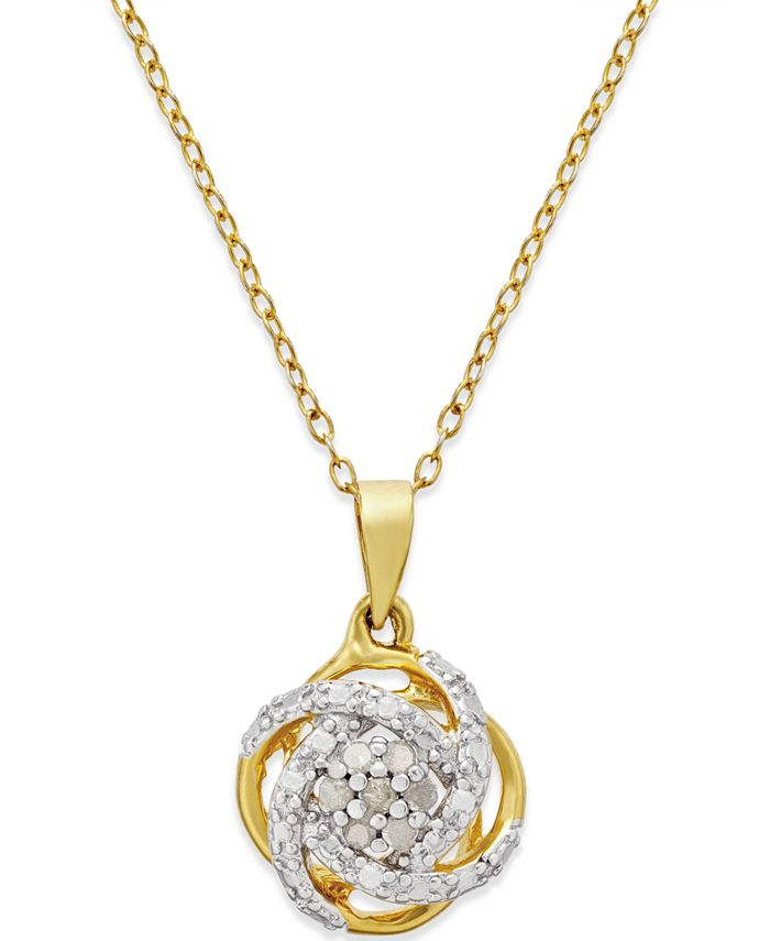 Macy's - Diamond Love Knot Pendant Necklace (1/10 ct. t.w.) in 18k Gold-Plated Sterling Silver