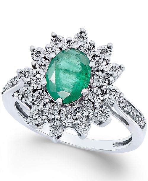 Macy's Emerald (1-1/5 ct. t.w.) and Diamond (1/5 ct. t.w.) Ring in 14k White Gold