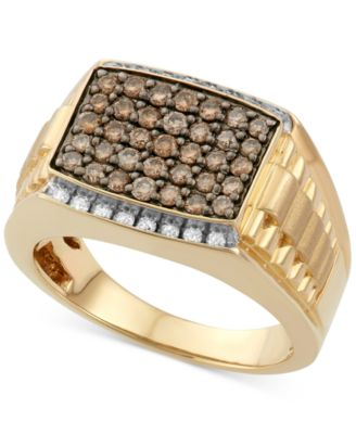 Mens Diamond Ring 1 ct tw in 10k Gold Rings Jewelry