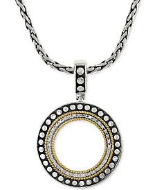 EFFY Diamond Circle Pendant Necklace (1/6 ct. t.w.) in 18k Gold and Sterling Silver