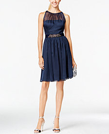Adrianna Papell Belted Chiffon Halter Dress