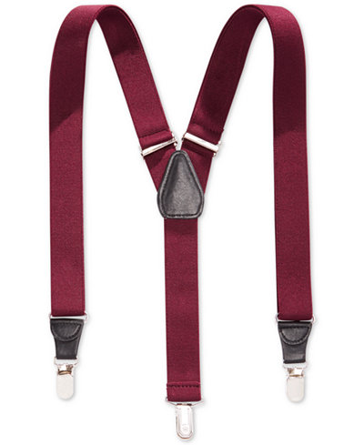 Club Room 25mm Skinny Solid Suspenders, Created for Macy's