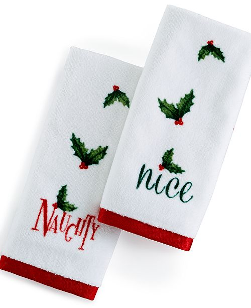 Lenox CLOSEOUT! Naughty & Nice Fingertip Towel 2-Pc. Set