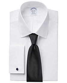 Brooks Brothers Regent Slim-Fit Non-Iron White Solid French Cuff Dress Shirt and Repp Solid Tie