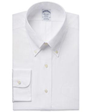 BROOKS BROTHERS Men'S Regent Slim-Fit Non-Iron Short Sleeve Light Blue Solid Dress Shirt in White