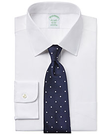 Brooks Brothers Milano Extra Slim-Fit Non-Iron White Pinpoint Solid Dress Shirt and Repp Dot Tie