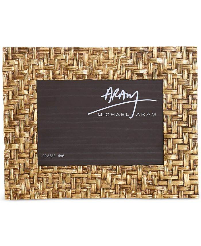 "Michael Aram - Antique Gold-Tone 4"" x 6"" Palm Frame"