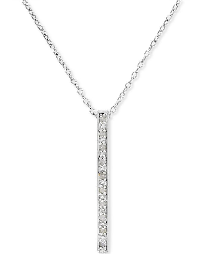 Macy's - Diamond Bar Pendant Necklace (1/10 ct. t.w.) in Sterling Silver