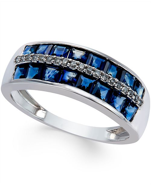 Macy's Sapphire (2 ct. t.w.) and Diamond Accent Band in 14k White Gold