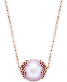 Pink pearls shop pink pearls macys pink windsor pearl 13mm pendant necklace in 14k rose gold aloadofball Choice Image