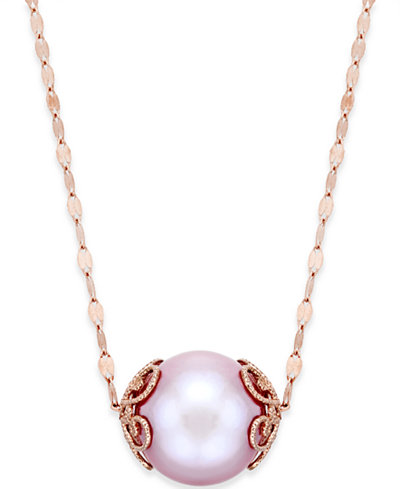 Pink Windsor Pearl 13mm Pendant Necklace In 14k Rose