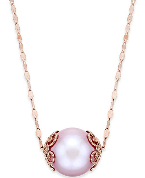 Macy's Pink Windsor Pearl (13mm) Pendant Necklace in 14k Rose Gold