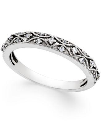 Diamond Art Deco Wedding Band 110 ct tw in 14k White Gold