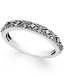 Diamond Art Deco Wedding Band (1/10 ct. t.w.) in 14k White Gold