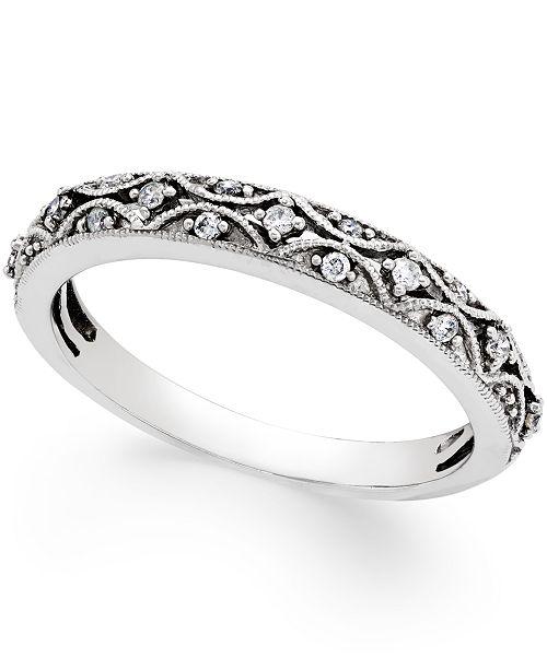 Macy S Diamond Art Deco Wedding Band 1 10 Ct T W In